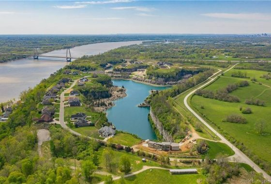 Arial Photo of Quarry Bluff with Bridge and River